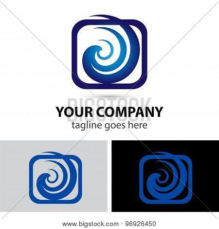 Spiral swirl in square rectangular logo element