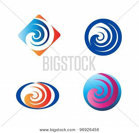 Spiral symbol Twirl logo elements