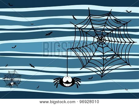 Halloween Stripey Background With Smiling Spider, Cobweb And Bats