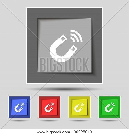 Magnet Icon Sign On Original Five Colored Buttons. Vector