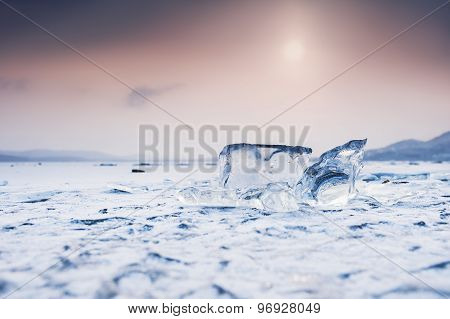 Ice On The Frozen Lake.