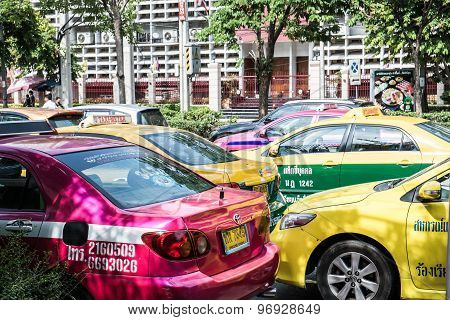Group of colorful taxi got traffic jam at front of Siam Paragon