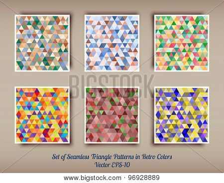 Vector Set Of 6 Triangle Seamless Patterns