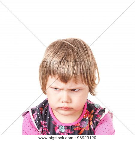 Cute Caucasian Blond Baby Girl Angry Frowns