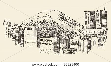 Japan Tokyo city architecture vintage engraved illustration hand drawn