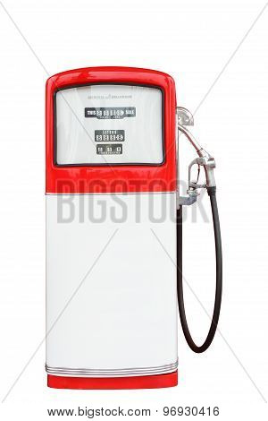 Red and white vintage antique gasoline fuel pump clipping path.