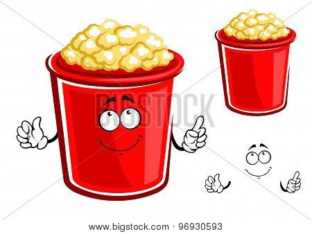 Red bucket of caramel popcorn