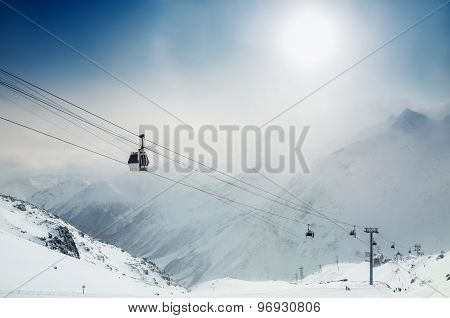 Ski Resort In The Winter Mountains.