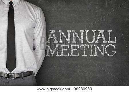Annual meeting text on blackboard