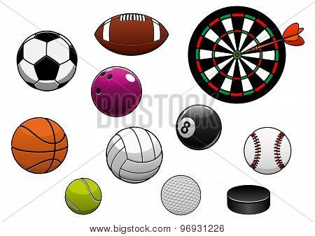 Dartboard, hockey puck and sports balls