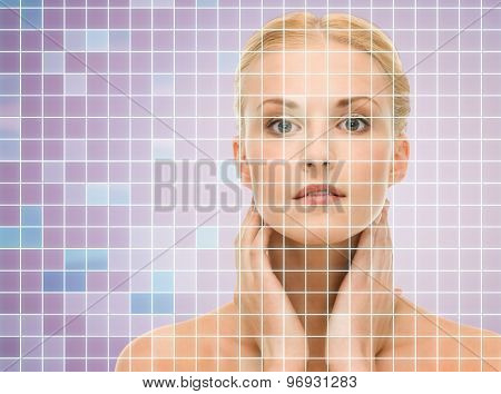 beauty, people and health concept - beautiful young woman touching her neck over violet background with squared grid
