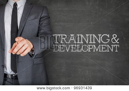 Training and development on blackboard with businessman