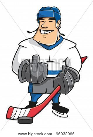 Cartoon ice hockey player character