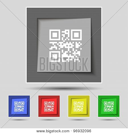 Qr Code Icon Sign On Original Five Colored Buttons. Vector