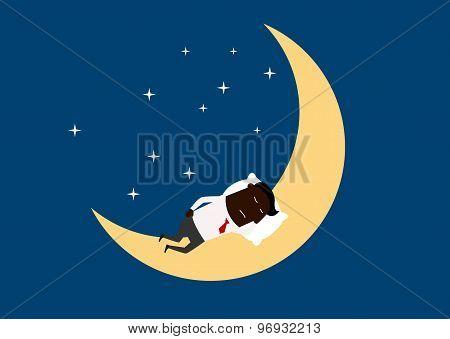 Black businessman sleeping on the moon