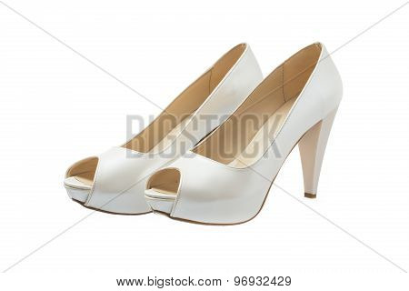 Ivory Female Wedding Shoes Isolated Over White Background