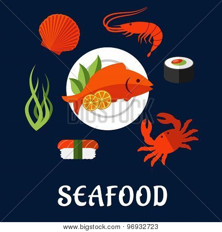 Seafood icons with fish, sushi, crab and shrimp