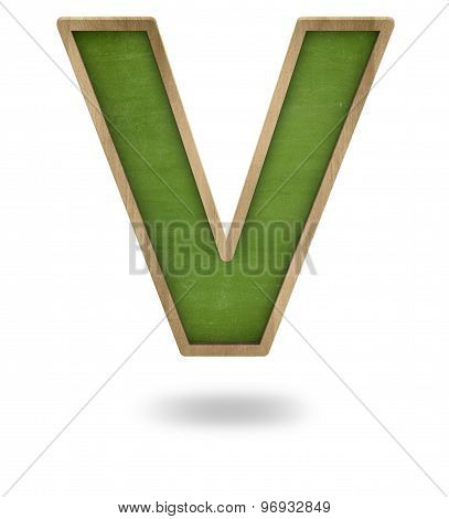 Green blank letter V shape blackboard
