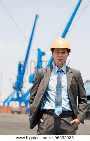 Businessman At The Freight Dock