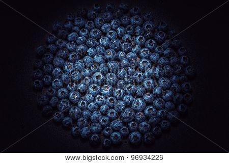 Wet Blueberries On Black Slate