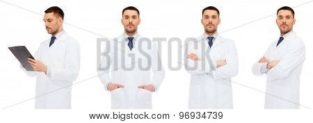 medicine, profession and health care concept - doctors with clipboard