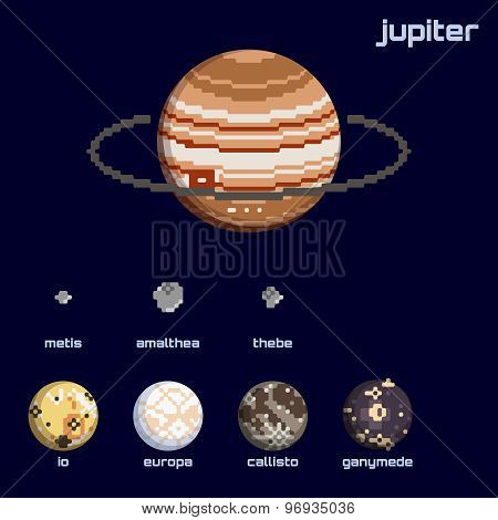 Retro minimalistic set of Jupiter and moons