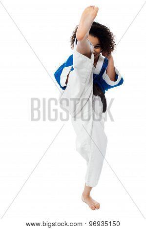 Karate Girl Kick A Leg