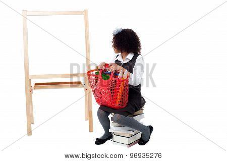 Girl Watching On Whiteboard.
