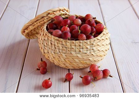 berry gooseberry in a small basket