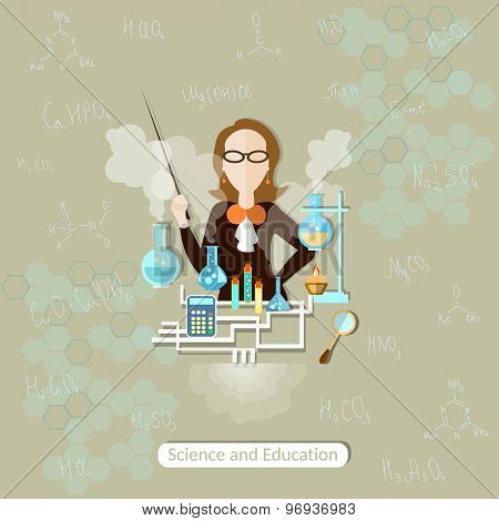 Science And Education Chemistry Teacher, Lessons, Woman, School, University, College, Science