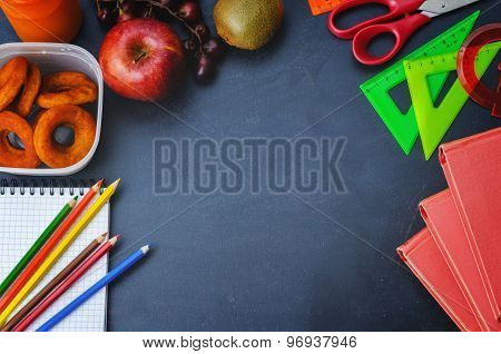 School Background With Books, School Lunch, Pencils And A Notebook