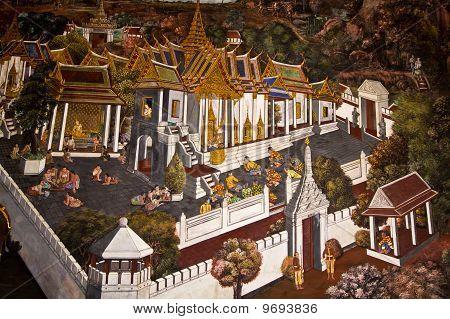 traditionellen thai-Stil Kunst Malerei auf Tempelmauer (Ramayana Story)