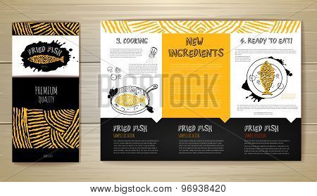 Fried Fish Restaurant Menu Concept Design. Corporate Identity. Document Template
