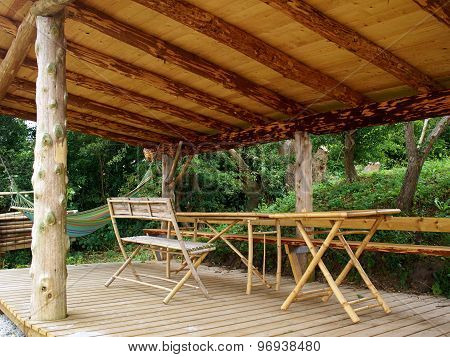 Traditional Wood Pergola In A Tropical Holiday Resort