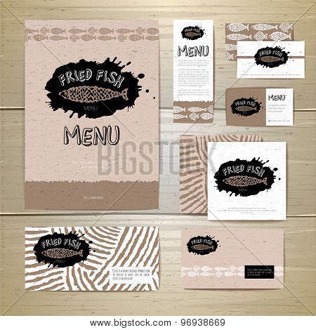 Fried Fish Restaurant Menu Concept Design. Corporate Identity. Document Template