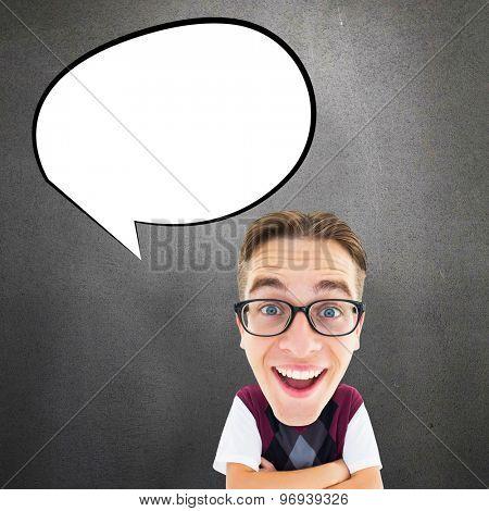 Geeky businessman against grey room