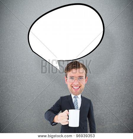 Geeky businessman holding mug against grey background