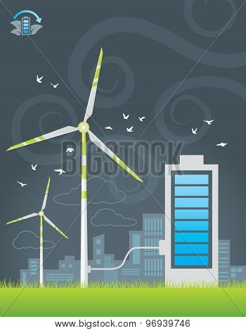 Eco windmills city energy charging