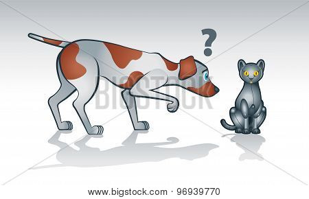 Robot cat with curious dog