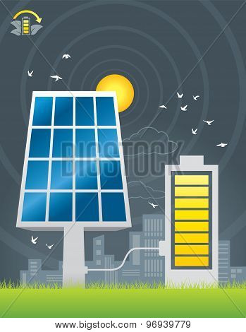 Solar panels city energy charging