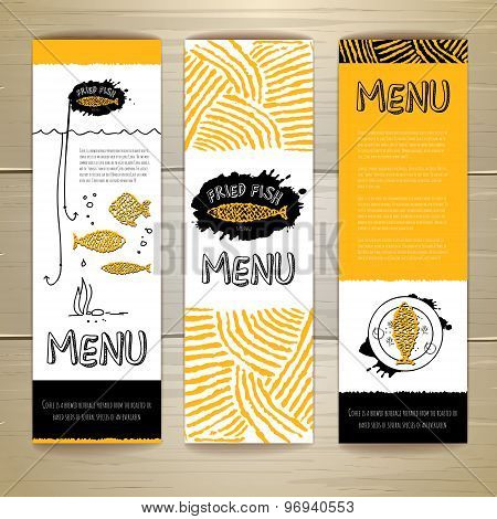 Fried Fish Restaurant Menu Concept Design. Corporate Identity. Set Of Banners
