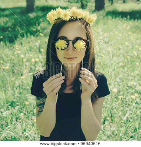 Smiling Beautiful Girl In Wreath Of Yellow Dandelions