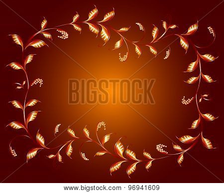 Frame of golden branches with leaves. EPS10 vector illustration