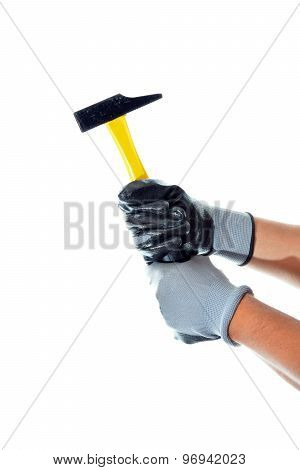 Worker Holding A Tool To Work