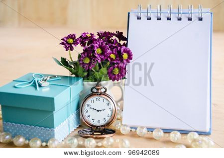Blank Diary And Gift Box.