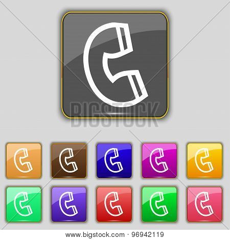 Handset Icon Sign. Set With Eleven Colored Buttons For Your Site. Vector