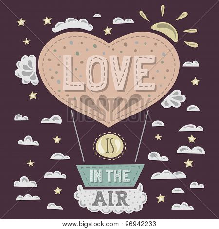 Vector modern flat design hipster illustration with phrase Love is in the air