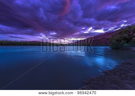 San Juan River After Sunset Near Clay Hills Crossing