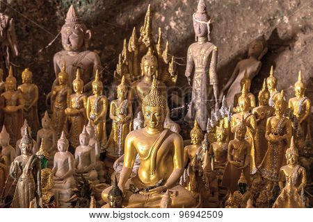 The Old Buddha Statue In Cave At Laos