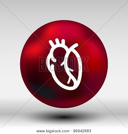 vector red human heart icon cardio cardiovascular